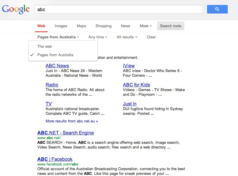 Changing Google search settings to another country how to